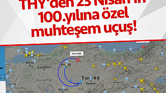 THY'den 23 Nisan'a özel rota! Ankara semalarında ay-yıldız çizildi
