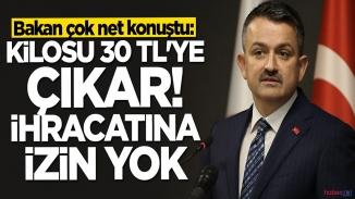 Bakan Pakdemirli:'İhracatına izin yok eğer verirsek fiyatı 30 tl olur'