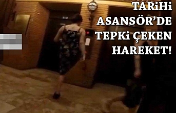 İzmir'in göbeğinde tepki çeken görüntüler! Asansörü ayağıyla açtı