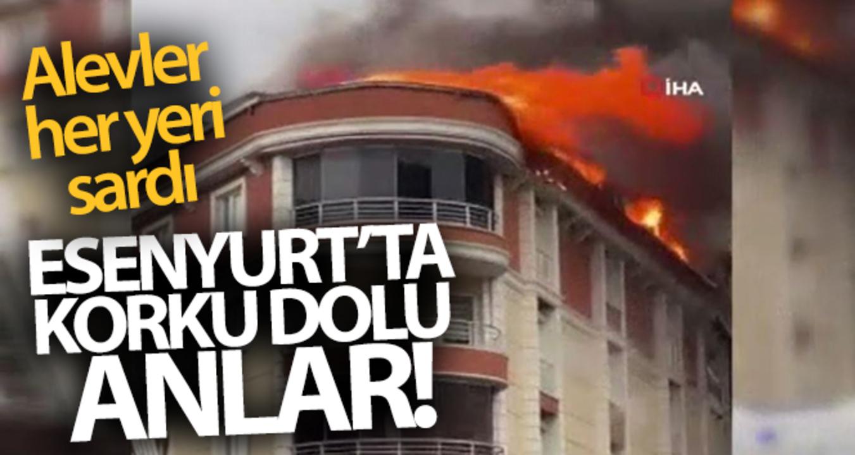 Esenyurt'ta bulunan bir binanın çatı katında çıkan yangın korkuttu