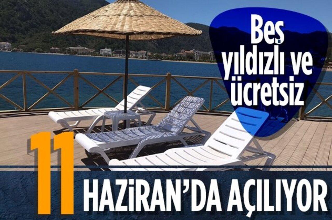 Marmaris'te ücretsiz tatil! 5 yıldızlı halk plajı projesi tamamlanıyor..