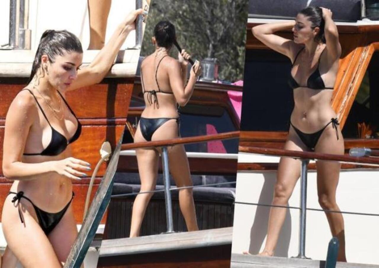 Hande Erçel siyah bikinisiyle büyüledi