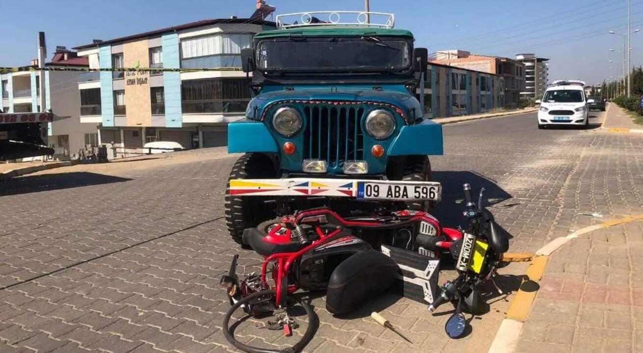 Nazilli'de otomobille çarpışan elektrikli motor sürücüsü hayatını kaybetti