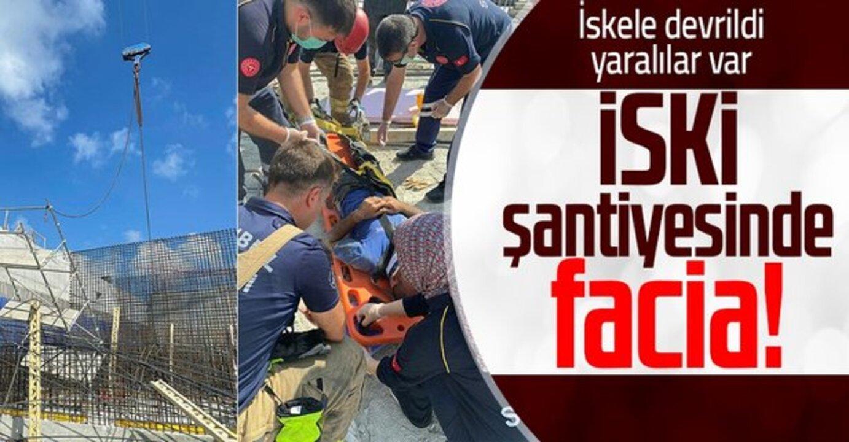 Arnavutköy'de bulunan İSKİ'ye ait şantiyede kaza! 3 işçi yaralı..