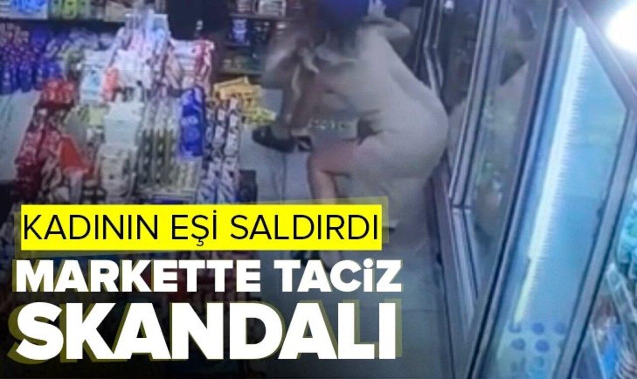 Markette alış veriş yapan kadına korkunç taciz!
