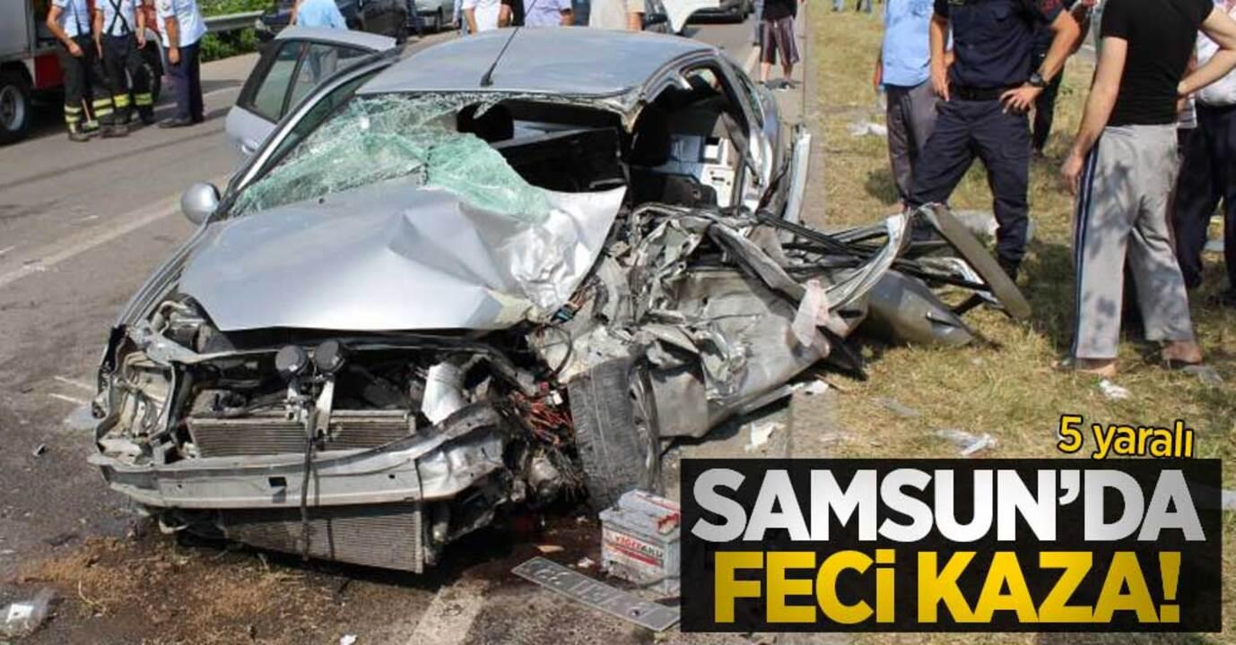 Samsun'da trafik kazası! TIR ile otomobil kafa kafaya çarpıştı