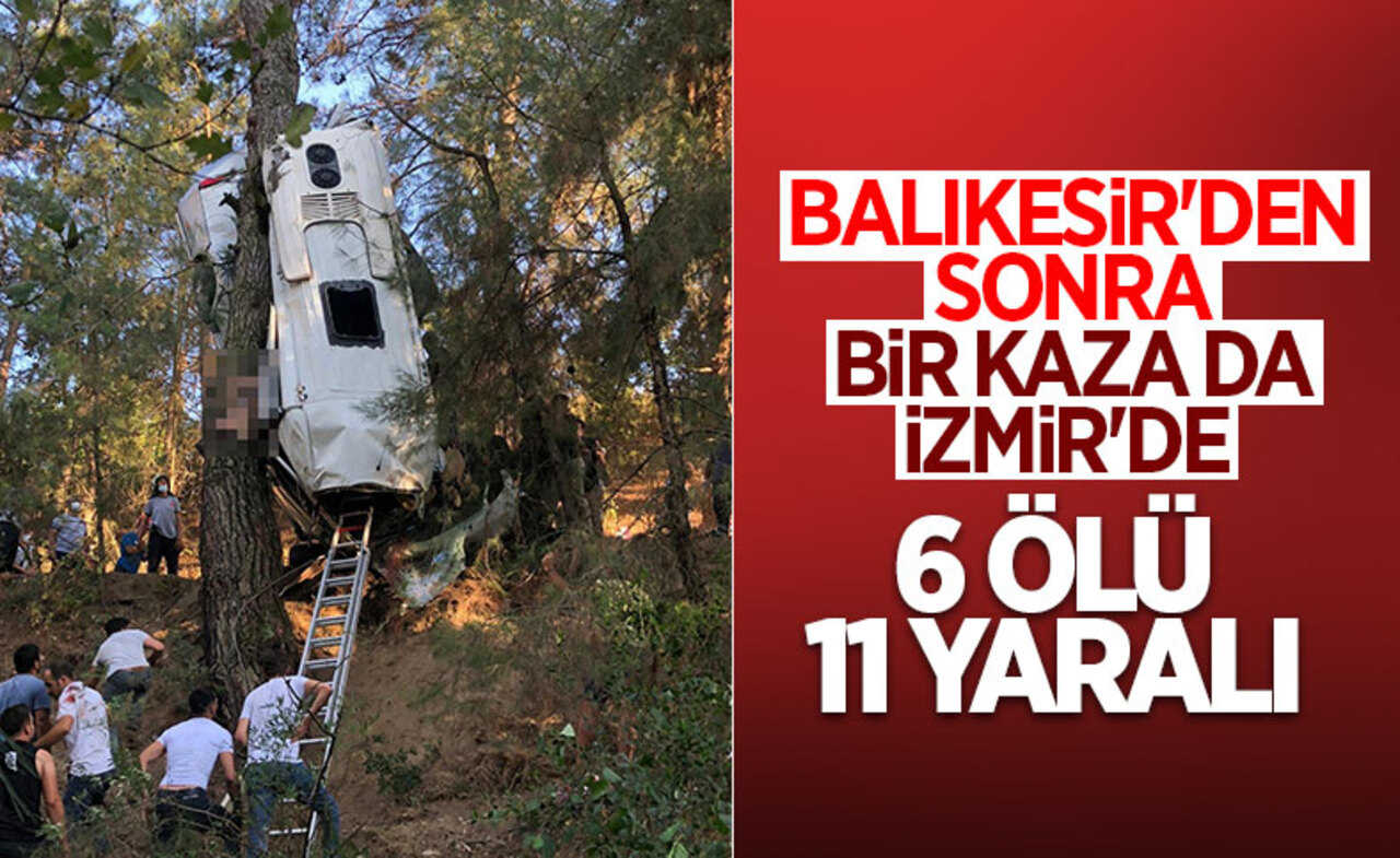 İzmir'de türbe ziyaretinden sönen servis minibüsü şarampole yuvarlandı: 6 ölü!