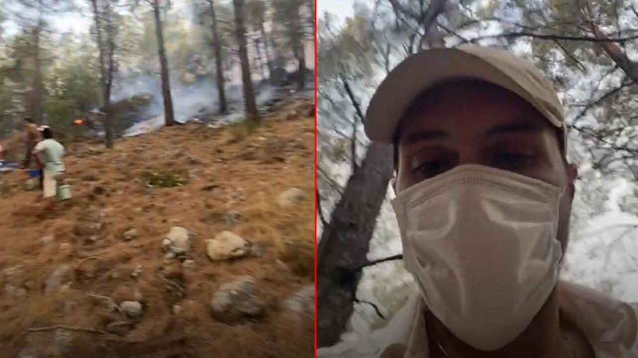Oyuncu Alperen Fethiye'deki yangın söndürme çalışmalarına katıldı