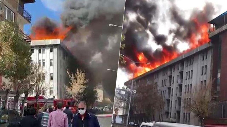 Erzurum'da İller Bankası'nın eski binasında yangın çıktı