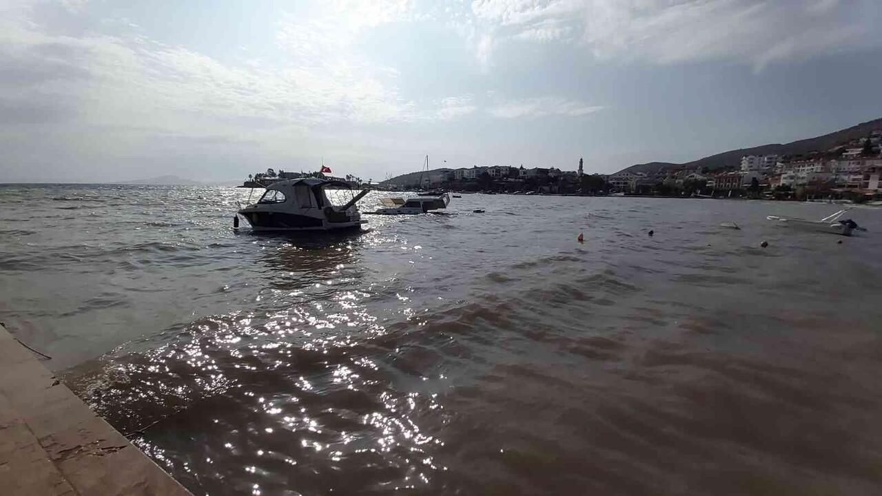 Datça'da fırtına nedeniyle bir tekne battı